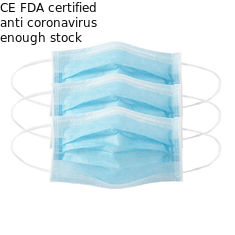 Anti Dust / Coronavirus 3 Ply Disposable Face Mask 90% Filter Efficiency Blue Color